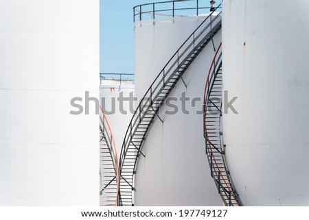 White oil storage tanks - stock photo