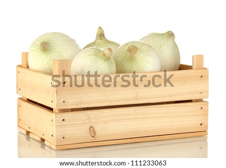white onion in wooden box isolated on white background - stock photo