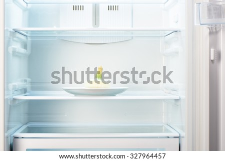 White onion on white plate in open empty refrigerator. Weight loss diet concept.  - stock photo