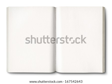 White open book isolated on white with clipping path - stock photo