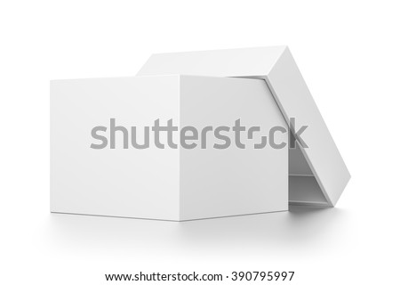 White open cube blank box with cover isolated on white background. - stock photo