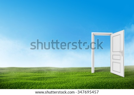 White open door on the green grass lawn with blue sky. - stock photo