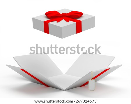 White open gift box with blank label isolated on a white background  - stock photo