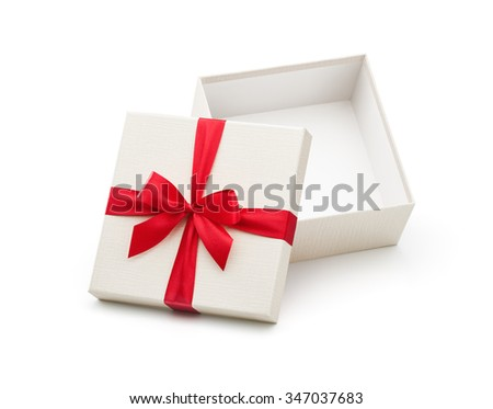 White open gift box with red bow isolated on white background - Clipping path included - stock photo