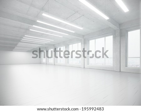White open plane office  - stock photo
