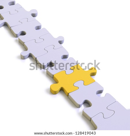 White or blank  puzzle pieces linking on white background with a  missing yellow link in place - stock photo