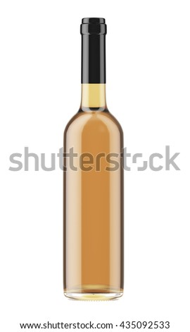 White or rose wine bottle with black plug isolated on white background. 3D Mock up for your design. - stock photo