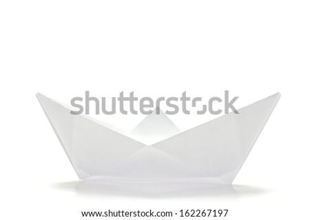 White origami ship  side  - stock photo
