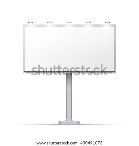 White outdoor billboard with place for advertising and with lighting - stock photo