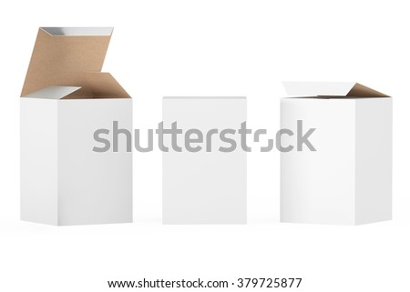 White Package Boxes on a white background - stock photo