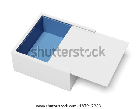 White Package Cardboard Sliding Box Opened - stock photo