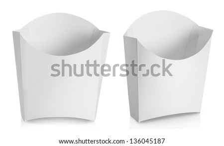 white Package container for french fries food products isolated over white background - stock photo