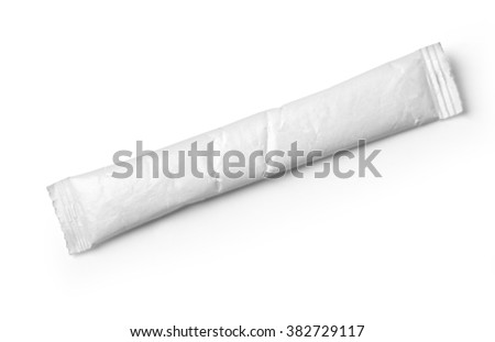 White package for sugar, salt, coffee, spices and other products with clipping path - stock photo