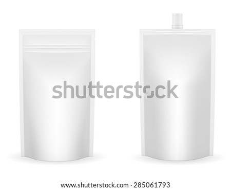 white packaging foil for ketchup or sauce illustration isolated on background - stock photo