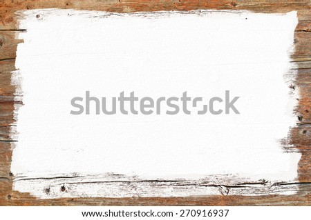 White painted area on wooden wall, empty signboard for text - stock photo