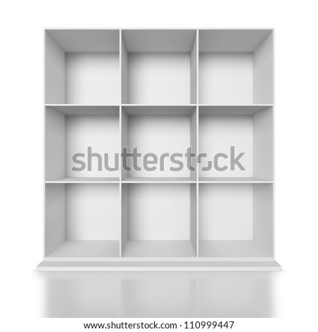 White painted wooden cupboard on white background - stock photo