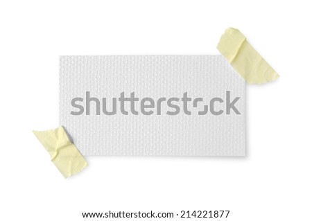 White paper and stick masking tape on a white background. - stock photo