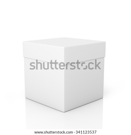 White paper box on a white background. - stock photo