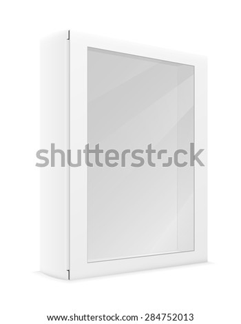 white paper carton box packing illustration isolated on background - stock photo