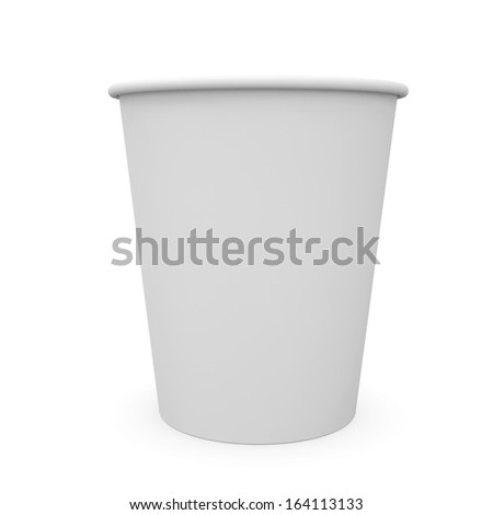 White paper cup. Isolated render on a white background - stock photo
