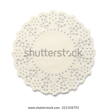 White Paper Doily With Lace Pattern Isolated on White Background. - stock photo