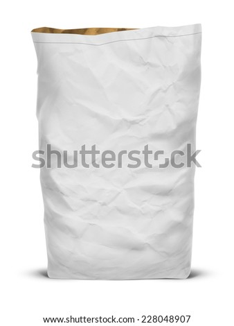 White paper eco bag isolated on white background - stock photo