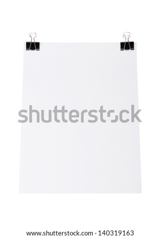 White paper for letter with clip isolated on a white background - stock photo