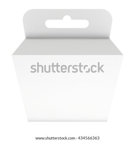 White paper hanging box large. Packaging container with hanging hole. Mock up template. 3d render isolated on white background. - stock photo