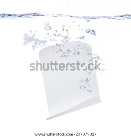 White Paper Hanging from a Fish Hook - stock photo