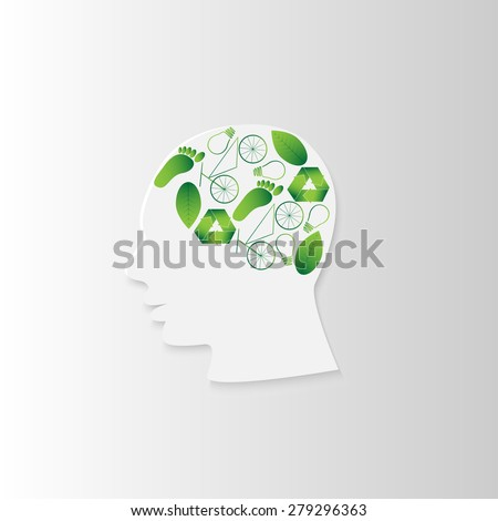 white paper head in profile with ecological thinking - stock photo