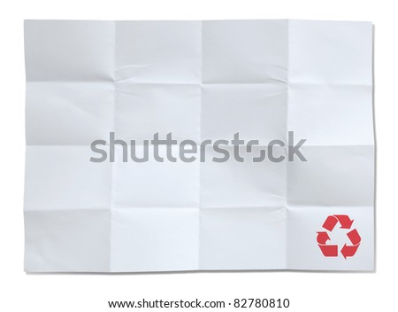 white paper of recycle isolated - stock photo