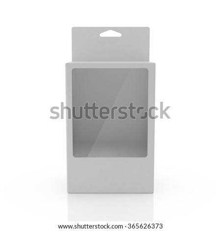 White paper packaging box with hanging hole. Container, Packaging Template, 3d render on white background - stock photo