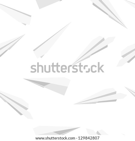 White  Paper planes, seamless wallpaper,  illustration - stock photo