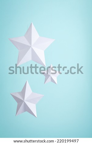 White paper stars  - stock photo