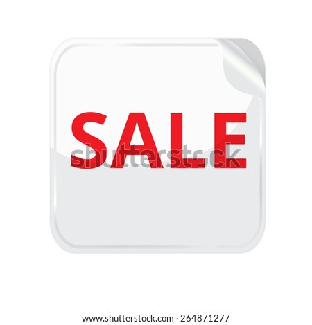 White paper sticker on white background.  stickers with curled edge. Sticker square shape. Sticker with sale text - stock photo