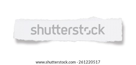 White paper tears, isolated on white with soft shadows - stock photo