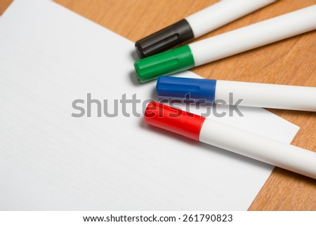 white paper with colorful felt pen markers - stock photo