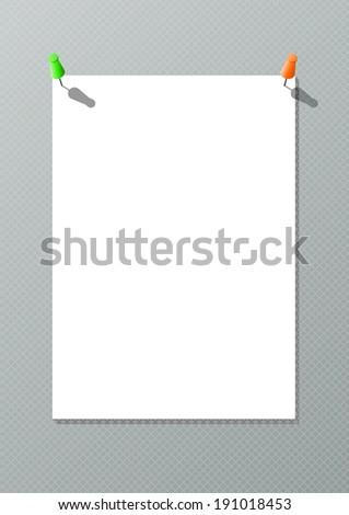 White paper with thumbtacks - stock photo