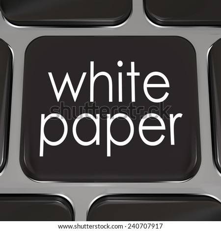 White paper words on a black computer keyboard key or button to download a document or case study with information on how to achieve a goal, complete a task or attain success - stock photo