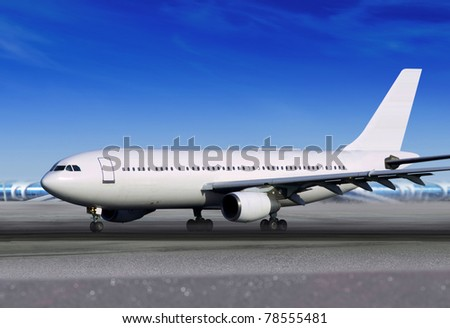 white passenger aircraft on runway of airport - stock photo