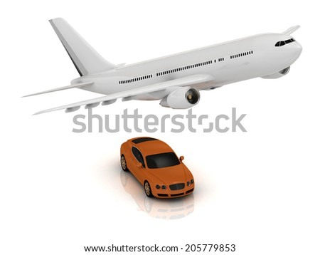 White passenger airliner and orange car. Top view isolated on white - stock photo