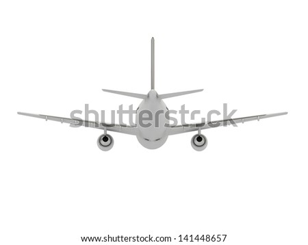 White passenger airliner. Back view isolated on white - stock photo