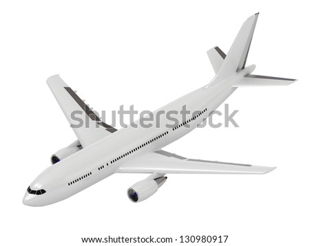 White passenger airliner. Top view isolated on white - stock photo