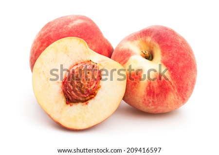 white peach isolated - stock photo
