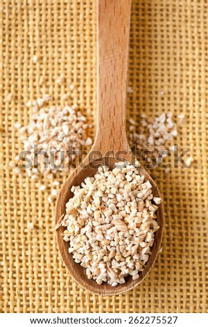 White pearl barley dry groats, coarsely grains portion on wooden spoon and spilled out closeup, healthy raw food heap in day light, vertical orientation, nobody. - stock photo