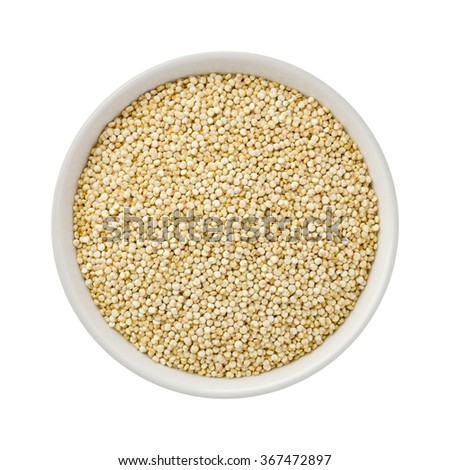 White Pearl Quinoa in a white ceramic bowl. The image is a cut out, isolated on a white background, with a clipping path. - stock photo