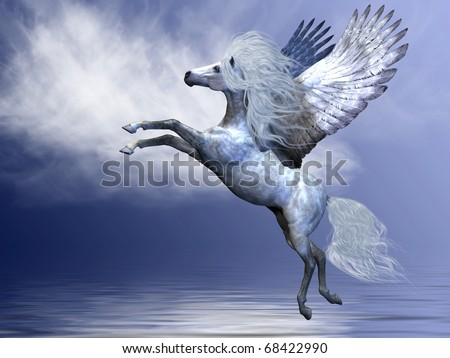 WHITE PEGASUS - White Pegasus spreads his magnificent wings in flight over an ocean. - stock photo