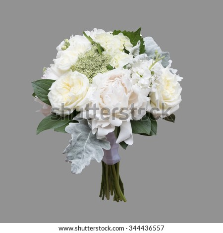 White Peony and Garden Rose Bridal Bouquet isolated on grey background - stock photo