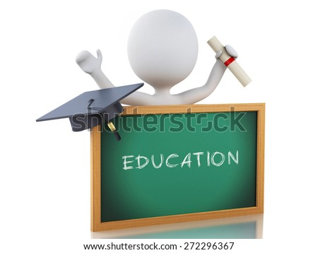 White people graduate with diploma, Graduation cap and blackboard. Isolated white background. 3d renderer illustration.  - stock photo