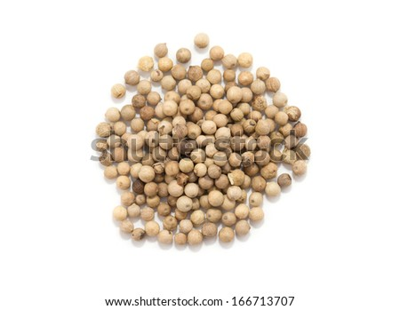 White pepper grains isolated on white background - stock photo